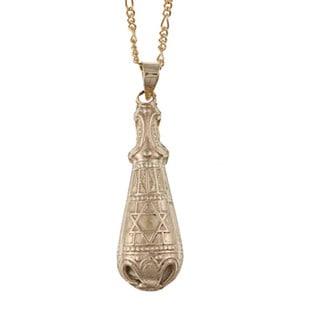 14k Yellow Gold Harp Mezuzah Necklace