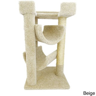 New Cat Condos Carpet and Wood Scratch and Lounge 3-tier Cat Tree