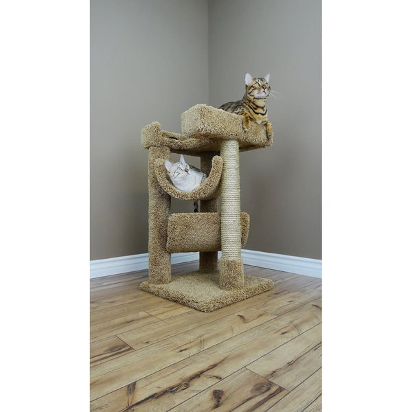 New Cat Condos Carpet And Wood Scratch Lounge 3 Tier Tree