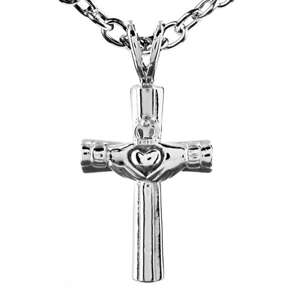 ELYA Stainless Steel Claddagh Cross Necklace
