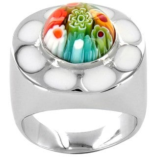 West Coast Jewelry Stainless Steel Multi-colored Floral Glass Ring