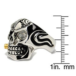 Oliveti Stainless Steel Cubic Zirconia Skull and Bullet Ring - Thumbnail 2