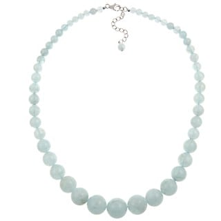 Pearlz Ocean Sterling Silver Aquamarine 17-inch Graduated Necklace