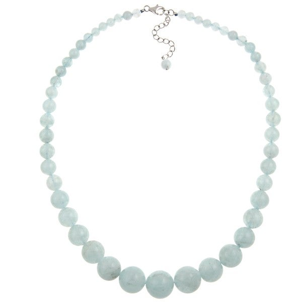 Pearlz Ocean Sterling Silver Aquamarine 17-inch Journey Necklace