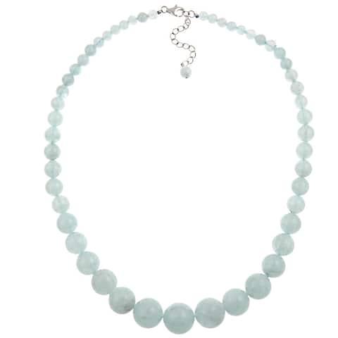 Pearlz Ocean Sterling Silver Aquamarine Journey Round Beads Women Necklace