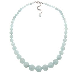 Pearlz Ocean Sterling Silver Aquamarine 17-inch Journey Necklace Jewelry for Womens