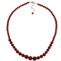 Pearlz Ocean Sterling Silver Red Coral Necklace Jewelry for Womens
