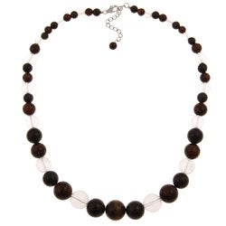 Pearlz Ocean Tiger's Eye and White Quartz Graduated Necklace
