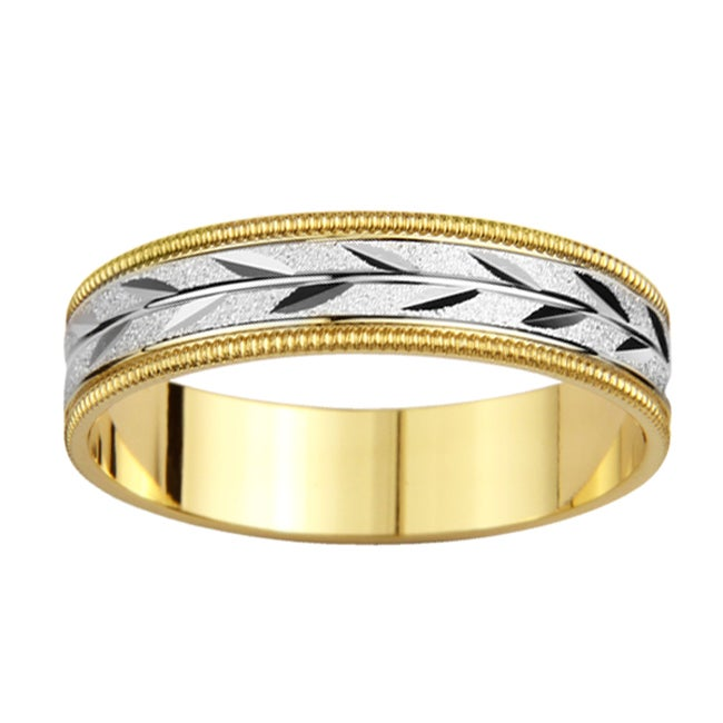 14k Two-tone Gold Men's Milligrain Leaf Design Wedding Band