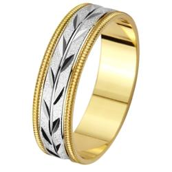 14k two tone gold mens milligrain leaf design wedding band