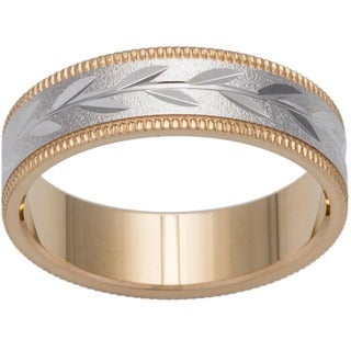 14k Two-tone Gold Women's Milligrain Leaf Design Wedding Band