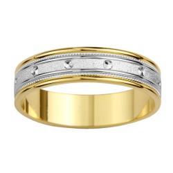 14k Two-tone Gold Women's Milligrain Screw Design Wedding Band