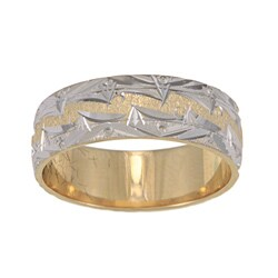 14k Two-tone Gold Mountain Edge Design Easy-fit Wedding Band (4 options available)