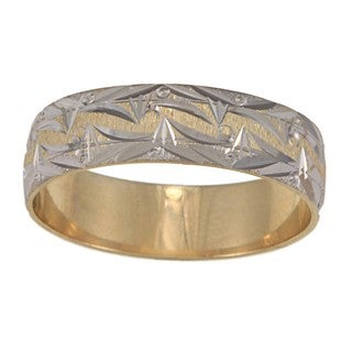 14k Two-Tone Men's Mountain Edge Design Easy Fit Wedding Band (6 mm) - Gold