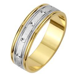 14k Two-tone Gold Men's Milligrain Screw Design Wedding Band - Thumbnail 1