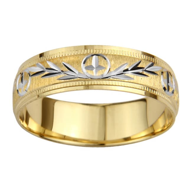 14k gold mens milligrain cross and leaf design wedding band yellow - Leaf Wedding Ring
