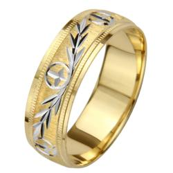 14k Gold Men's Milligrain Cross and Leaf Design Wedding Band - Yellow - Thumbnail 1