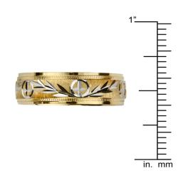 14k Gold Men's Milligrain Cross and Leaf Design Wedding Band - Yellow - Thumbnail 2
