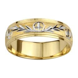 14k Gold Men's Milligrain Cross and Leaf Design Wedding Band - Yellow