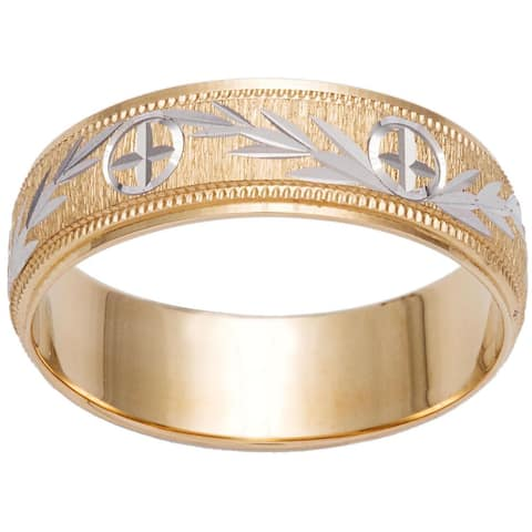 Two-tone 14k Gold Milligrain Cross and Leaf Design Wedding Band