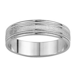 14k White Gold Women's Satin Finish Grooved Easy Fit Wedding Band