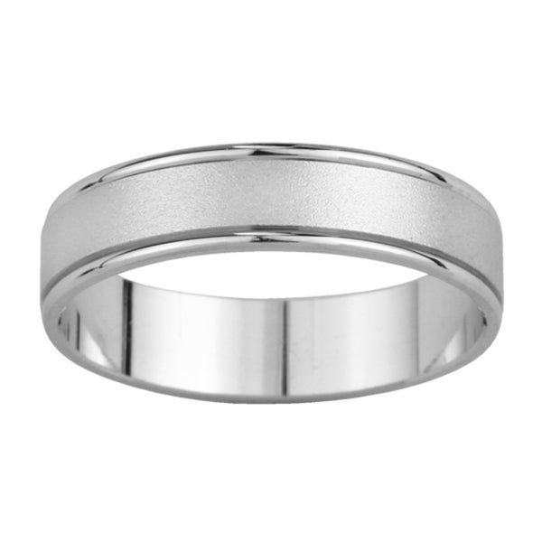 14k White Gold Men's Satin Finish Wedding Band