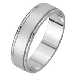 14k White Gold Men's Satin Finish Wedding Band - Thumbnail 1