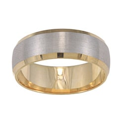 14k Two-tone Gold Satin Finish Easy-fit Wedding Band