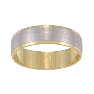 14k Two-tone Gold Men's Satin Finish Easy Fit Wedding Band (6 mm) - Yellow