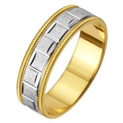 14k Two-tone Gold Women's Milligrain Roman Easy Fit Wedding Band - Thumbnail 1