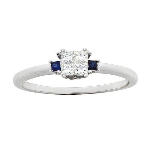 Montebello 14KT White Gold 1/4ct TDW Diamond and Sapphire Ring
