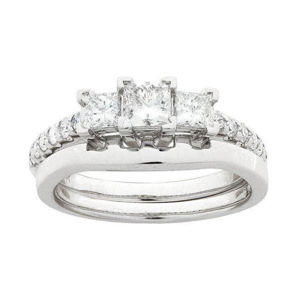 Montebello 14k White Gold 1ct TDW Diamond Bridal Ring Set