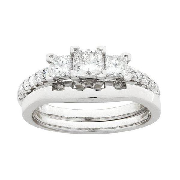 Montebello 14k White Gold 1ct TDW Diamond Bridal Ring Set (G-H, SI1-SI2)