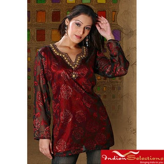 Women's Burgundy Long Sleeve Beaded Kurti/Tunic (India)