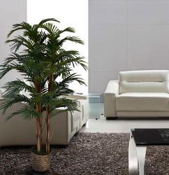 Laura Ashley 5-foot Realistic Silk Palm Tree with Wicker Basket Planter