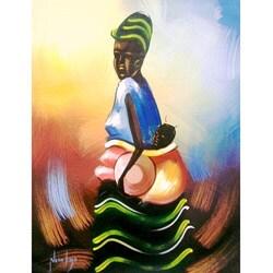 Handmade Nana Kojo 'African Mother Profile' Unframed Canvas Painting (Ghana)