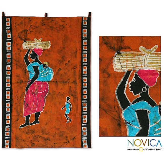Cotton 'A Good Wife' Batik Wall Hanging (Ghana)