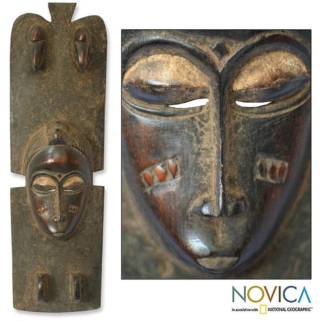 Sese Wood 'Baule Princess' Africa Mask (Ghana)