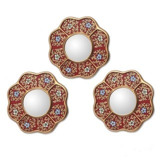Handmade Spring Set of 3 Reverse painted Glass Wall Mirrors (Peru) - Metallic Gold/Red