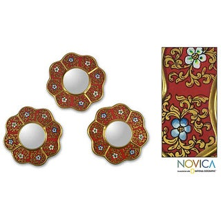 Set of 3 Reverse-painted Glass 'New Spring' Wall Mirrors (Peru)