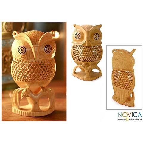 Kadam Wood 'Night Owl' Sculpture , Handmade in India