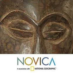 Sese Wood 'Good Luck' Africa Mask  (Ghana) - Thumbnail 2