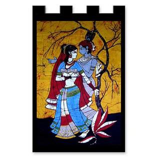 Handmade Cotton 'Lover's Dance' Batik Wall Hanging (India)