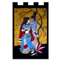 Handmade Cotton 'Lover's Dance' Batik Wall Hanging (India)