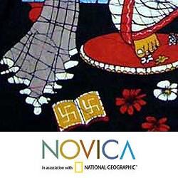 Handcrafted Cotton 'Benevolent Ganesha' Batik Wall Hanging  , Handmade in India - Thumbnail 1