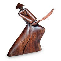 Handcrafted Suar Wood ', Handmade in , Handmade in Indonesian Samurai' Sculpture, Handmade in Indonesia