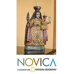 Handmade Pinewood 'Our Lady of Candelaria' Sculpture (Guatemala)