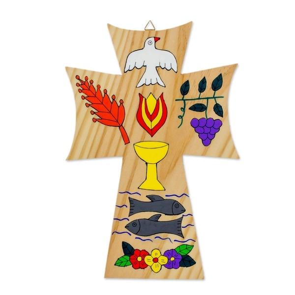 Handmade Pinewood 'Bread of Life' Wall Cross (El Salvador). Opens flyout.
