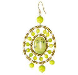 Adee Waiss 18k Gold Overlay Avacado Green Jasper Seed Bead Earrings