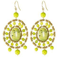 Adee Waiss 18k Gold Overlay Avacado Green Jasper Seed Bead Earrings